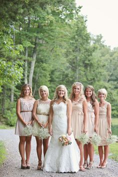I really like these little baby's breath bouquets for bridesmaids. simple, pretty and rustic, with a smack of texture. they almost seem like lil' bundles of sparklers.