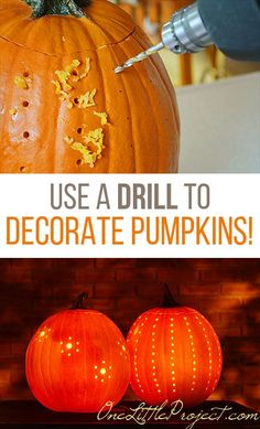 Use a drill to decorate pumpkins! Drilled pumpkins are so easy to make and they look SO BEAUTIFUL when they're lit up! Such a fun and easy pumpkin carving idea for Halloween! Diy Halloween, Holidays Halloween, Halloween Pumpkins, Happy Halloween, Halloween Decorations, Glitter Pumpkins, Halloween Activities, Halloween Stencils, Plastic Pumpkins