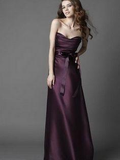 Purple Strapless Long Bridesmaid /Formal Dress LBD008
