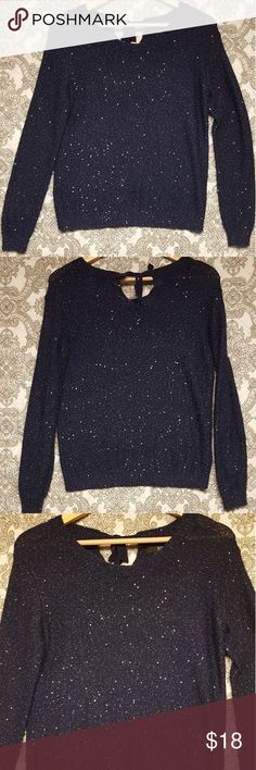 A.N.A blue sequins sweater A new approach  A.N.A. COLOR : blue Sequins sweater  And a cute bow in the back 😍 Shoulders 18 Chest 38 Length 23 Sleeves 23 Size S Bundle and save 😍 a.n.a Sweaters Crew & Scoop Necks