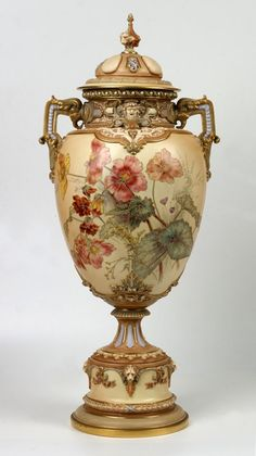 A large Royal Worcester covered urn, English, circa 1894