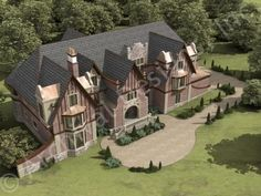 (PLAN#135)-----  Dysart Castle House Plan - Front Aerial