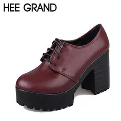 3c798fd052 HEE GRAND British Style Women Boots High Heels Lace Up Platform Ankle Boots  Autumn Sexy Ladies Shoes Woman 2 Colors XWD2417-in Ankle Boots from Shoes  on ...