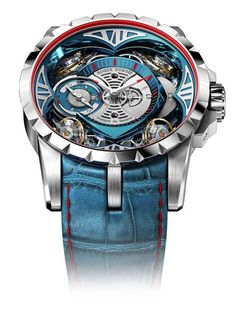 The Roger Dubuis Excalibur Quatuor Cobalt MicroMelt uses a high-performance cobalt chrome alloy, produced through the exceedingly rare MicroMelt metallurgical technique, for its 48-mm case, bezel, and crown. It is outfitted with the manually wound, 890-p