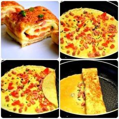 Cut the ingredients for the filling. In a frying pan melt a piece of butter, pour omelet weight. World Recipes, Home Recipes, New Recipes, Cooking Recipes, Good Food, Yummy Food, Omelette, Eat Right, Dessert Recipes