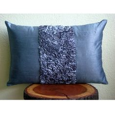 Decorative Oblong / Lumbar Rectangle Throw Pillow Covers Accent Pillow Couch Toss 12x18 Blue Silk Pillow Case Ribbon Embroidered Blue Love