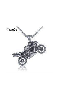 """Stainless Steel Biker Motorcycle Pendant Necklace For Men 25"""" Chain"""