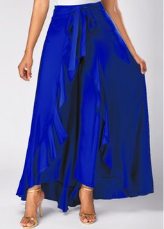 Tie Waist Side Zipper Royal Blue Overlay Pants on sale only US$31.58 now, buy cheap Tie Waist Side Zipper Royal Blue Overlay Pants at liligal.com