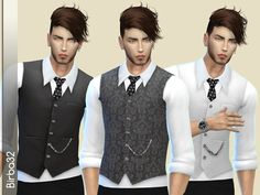 A dress like this can't miss in a man's closet. A white shirt with tie and vest in two fantasies and many colors.  Found in TSR Category 'Sims 4 Male Formal'