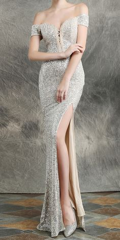Sparkle Gold Off Shoulder Long Evening Dress (Stunning) Long Sequin Dress, Sequin Evening Dresses, Evening Gowns, Elegant Dresses For Women, Stunning Dresses, Silver Gown, Fishtail Dress, Classy Women, Elegant Woman