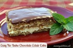 Mommy's Kitchen: Easy No Bake Chocolate E'clair Cake