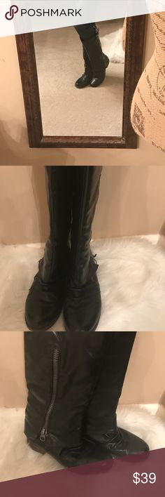 """""""These Boots Were Made For Walking"""" Black Boots These cute Carlos Santana will get you lots of compliments   The fold over look is unique with a side zipper that can go as high or low as you like. They are an easy slip on boot   These Boots have been gently worn and price reflects the wear Carlos Santana Shoes Combat & Moto Boots"""
