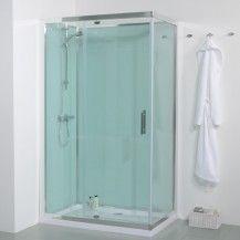1200 Offset Left Hand Quadrant Shower Cabin with Aqua White Back Panels Shower Panels, Glass Shower, Bathroom Makeover, Shower Pods, Amazing Bathrooms, Small Bathroom With Shower, Shower Cabin, Bathroom Shower, Walk In Shower Enclosures