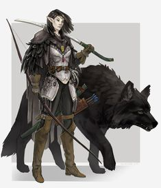 Finished up a color drawing of my Pathfinder party member, ranger/fighter Nathrae and her pup Lueros. Nathrae and Lueros Fantasy Character Design, Character Drawing, Character Design Inspiration, Character Concept, Concept Art, Dungeons And Dragons Characters, Dnd Characters, Fantasy Characters, Female Characters