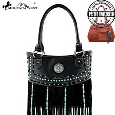 Montana West Fringe Collection Turquoise Stone Concealed Handbag