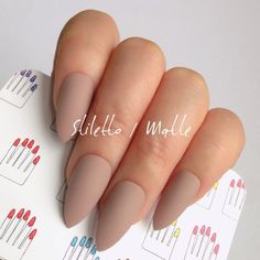 Stiletto, Glossy, Chocolate Nude Beige Hand Painted False Nail Tips / Press On / Stick On / Fake Nails - 12 pcs or 20 pcs Fake Nails With Glue, Glue On Nails, Fun Nails, Ongles Beiges, Coffin Nails Matte, Acrylic Nails Almond Matte, Nagel Hacks, Manicure Y Pedicure, Neutral Nails