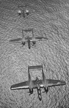 Northrop P-61 Black Widows of the WWII era.