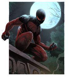 Scarlet Spider by Pham Colwell Marvel Dc Comics, Marvel Heroes, Marvel Characters, Anime Comics, Marvel Universe, Scarlet Spider Kaine, Marvel Drawings, Dark Drawings, Best Superhero