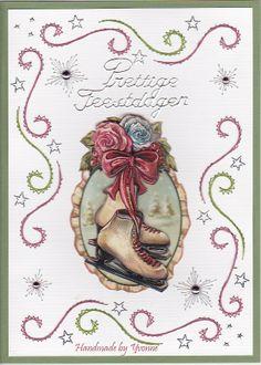 kerstkaart geborduurd op papier