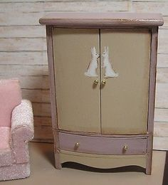Miniature Dollhouse Furniture- Armoire hand painted with Rabbits  1 in scale