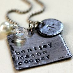 Hand Stamped Jewelry-   Personalized Jewelry - Rustic Square Family Necklace- SALE. $14.50, via Etsy.