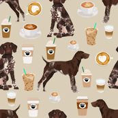 german shorthaired pointer coffee fabric design cute dogs fabric dog design by petfriendly