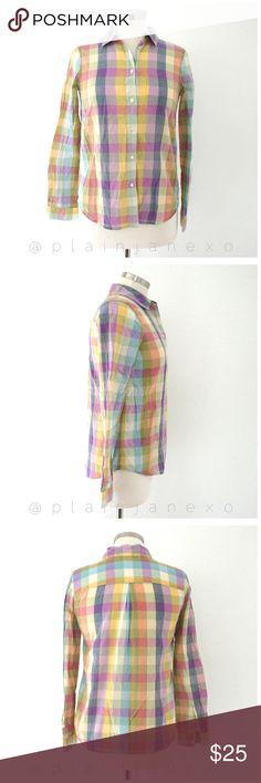 "Madewell paintchip plaid button down shirt Like new. Style: shrunken paintchip boyshirt. Size: XS. Bust: 30"", sleeve length: 23"", length: 25"". 100% cotton. Machine wash. Madewell Tops Button Down Shirts"