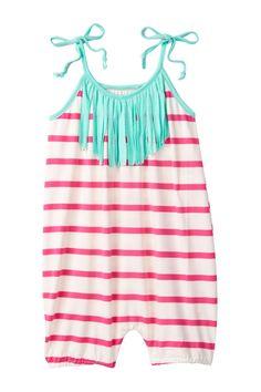 Pink Striped & Mint Fringe Bubble Romper (Baby & Toddler Girls) by Million Polkadots on @HauteLook