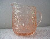 Pink Depression Glass Milk Pitcher Holiday Buttons & Bows Jeanette by RetrospectiveResale on Etsy, $20.00 USD
