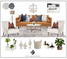Modern farmhouse living room- camel leather couch shop the room. While I still love my grays and neutrals, I've added some stunning pops of color that mix well with core neutral pieces. The large camel leather sofa paired with these modern/ transitional accent chairs creates a beautiful canvas that you can add different pillows and decor to to totally change out your look if you get sick of it.  The best part is that these pieces mix well with coastal, modern, contemporary or transitional…