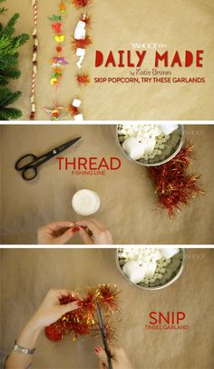 3 super easy DIY garland ideas for your Christmas tree! Click to watch :)