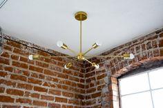 "Large 36"" Modern Gold Brass Starburst Chandelier 6 Arm Pinwheel Bulb Sputnik Mid Century Dining Room Hanging Light UL Listed"