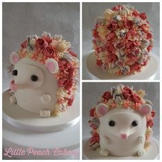 Hedgehog cake tutorial – littlepeachcakery - Mazie's bday ideas - Kuchen Pretty Cakes, Cute Cakes, Beautiful Cakes, Amazing Cakes, Yummy Cakes, Animal Cakes, Animal Birthday Cakes, Flower Birthday Cakes, Girls 2nd Birthday Cake