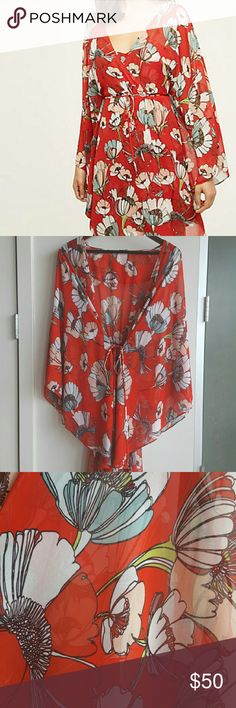 Anthropologie Crisantemi Kimono (XS/S) Pretty, light, floral kimono. Perfect as a cover-up on breezy nights. Worn once. In pristine condition. Will trade for Arnhem Saraswati Bowerbird duster kimono in size small :) Anthropologie Other