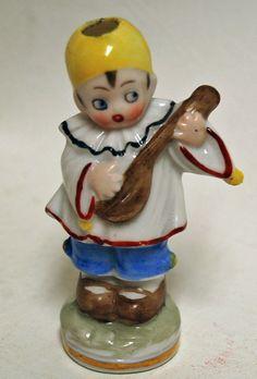 Vintage German Crown Top Porcelain Figural Perfume Scent Bottle Clown Musician