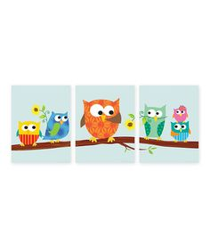 Loving this Orange Owls on a Branch Print Set on #zulily! #zulilyfinds