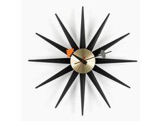 Sunburst Clock Black