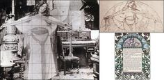 """Alphonse Mucha - Clôches de Noël et de Pâques (Bells of Christmas and Easter) c.1900    Pictured alongside Mucha's own black & white photograph study for the plate illustration p23, c.1900.    The """"Clôches de Noël et de Pâques"""" (Bells of Christmas and Easter) is a collection of tales by Émile Gebhart, a writer heavily steeped in mysticism."""