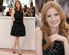 I love how @jessicachastain kept eerything fresh and fun at the photo call for 'The Disappearance of Eleanor Rigby' at the 2014 Cannes Film Festival in this black @alexandermcqueen Fall 2014 ivy velvet jacquard dress. Her accessory is a beautiful diamond flower earrings and colorful embroidered @paulandrew Shakti Soir pumps.  #purplebyanki #diamonds #luxury #loveit #jewelry #jewelrygram #jewelrydesigner #love #blue #jewelrydesign #finejewelry #luxurylifestyle #instagood #follow #instadaily…