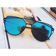 Blue Mirrored Sunglasses – Kara and Kate Round Lens Sunglasses, Flat Top Sunglasses, Cute Sunglasses, Trending Sunglasses, Cat Eye Sunglasses, Mirrored Sunglasses, Sunglasses Women, Sunnies, Vintage Sunglasses