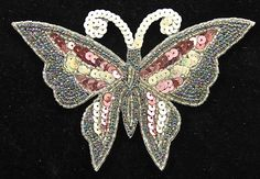 """Butterfly with MultiColored Sequins and Beads 3.5"""" x 5.5"""""""