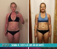 "Seana H. lost 6.8 lbs and got totally toned with PiYo in 60 days!    ""PiYo incorporates what i love about Pilates but amps it up so that I'm burning more calories. I'm completely in love! By pushing play 5-6 days a week, I have become a more healthy, happy and energetic person!"""