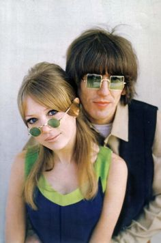 Green-tinted glasses. George Harrison and Pattie Boyd
