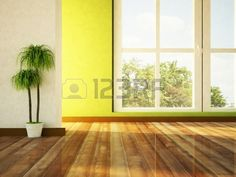 big window and a plant in the room Stock Photo