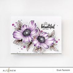 Anemone Flower, Flowers, Altenew Cards, Beautiful Handmade Cards, Card Making Techniques, Pretty Cards, Copics, Paper Cards, Creative Cards
