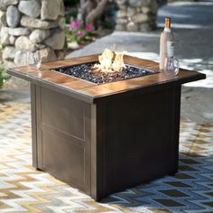 Square Propane Fire Pit Table   A Perfect Complement To Your Outdoor  Entertaining Are, The Red Ember Desert Sand 32 In. Square Propane Fire Pit  Table ...