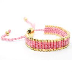 Friendship Gold Link Bracelet- Woven in Pink Macrame