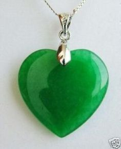 Jade heart pendant brass chain necklace vintage green jade green jade heart shape silver emerald pendant necklace mozeypictures Choice Image