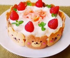 Kawaii cake with strawberries and cookie bear faces. Pretty Cakes, Cute Cakes, Cake Recipes, Dessert Recipes, Kawaii Dessert, Cute Desserts, Bear Cakes, Cafe Food, Food Humor