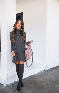 Grey sweater dress and grey suede otk boots